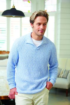 9e44af27 Textured vintage men's jumper with a collar Womans Weekly, Mens Jumpers,  Knitting Needles,