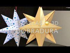 A Arte de Ensinar e Aprender: Estrela 3D em dobradura Origami 3d, Triangle, December, Wreaths, Christmas, Paper Stars, 3d Paper, Wind Rose, Diy Crafts