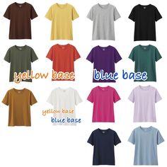 🌸Ricca Robin🌸 color & knottingさんはInstagramを利用しています:「GUのカラフルな14色のTシャツをイエローベース、ブルーベースに分けてみました😉 . 忙しい朝も似合う色を一枚着ていればハイライト効果で薄化粧したように見えるので、すっぴんのままゴミ捨てしたり、庭掃除したりできるかも⁉️😊 .…」 Spring Nature, Season Colors, Fashion Colours, Color Themes, Four Seasons, Colour Images, Fasion, Yellow, Blue