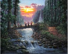 Thomas Kinkade Disney art | Disney Dreams Art - Rodel Gonzalez Forest Bridge - ... | Thomas Kinka ...