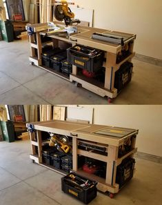 I built this convertible saw station / modular workbench. The miter saw rotates under the top to make room for the table saw and / or additional work space. : Woodworking woodworking bench # convertible saw station Workbench Plans Diy, Table Saw Workbench, Mobile Workbench, Woodworking Bench Plans, Japanese Woodworking, Woodworking Machinery, Mitre Saw Table, Rolling Workbench, Workbench Height
