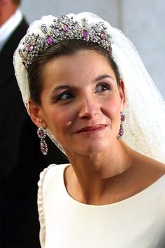 Princess Clotilde Courau of Venice and Piedmont wearing the Savoy Pink Tourmaline Tiara
