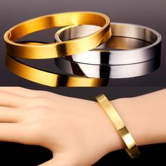 Stainless Steel Bangles For Women/Men Round Shape 18K Real Gold Plated Bracelets Bangles