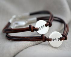 Disc is just large enough to accommodate three little initials. Lovely way to celebrate your best friend! - Sterling Silver, Rose Gold Fill or Gold Fill on leather - Polished finish - Lobster Clasp (m Best Friend Bracelets, Couple Bracelets, Jewelry Bracelets, Pearl Necklaces, Best Friend Gifts, Gifts For Friends, Cute Birthday Gift, Couple Jewelry, Leather Jewelry