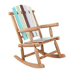 VH FURNITURE Wooden Rocking Chair Large Space Colorful Painted For Patio And Garden - Price was right, fast delivery, works great. Teak Outdoor Furniture, Rustic Furniture, Furniture Decor, Modern Furniture, Wooden Rocking Chairs, Painting Wooden Furniture, Outdoor Umbrella, Outdoor Dining Set, Cabinet Furniture