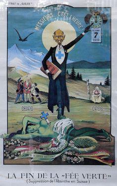 Affiche critiquant l'interdiction de l'absinthe en Suisse par Albert Gantner, 1910