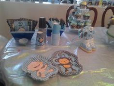 Baby shower for a boy color brown and blue