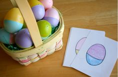 Cards to find the eggs that match. Then you could have them make the eggs into solid colors, and then go backwards and make them match the card again. 3-in-1 activity!