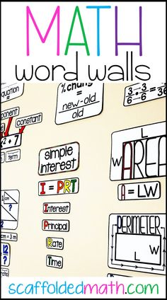 Math word wall ideas for elementary school, middle school and high school math. Includes links to FREE math word wall references for teaching math voc Math Classroom Decorations, Science Classroom, Classroom Walls, Maths Classroom Displays, Sixth Grade Math, 6th Grade Math Games, Third Grade Writing, 7th Grade Science, Ninth Grade