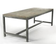 ABNER DINING ROOM TABLE- VINTAGE MEET MODERN FAMILY The Abner Dining Room Table consists of a galvenized metal base and a light, weathered wooden top. This unusual dining room table has a utilitarian appeal perfect for modern homes and apartments or those who love to combine styles to create their very own, unique look. $4,487.50