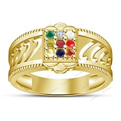 14K Gold Finish 925 Round Cut Multi-Color Stone Navratna Engagement Ring Sz 5-12 #aonedesigns #Navratna