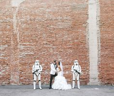 Star Wars-inspired wedding featuring Stormtroopers from the 501st Legion.