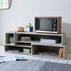 Goggle Mate TV unit in reclaimed fir with a beached timber finish