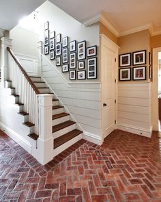 brick flooring House Foyer With Red Brick Floors : Brick Floor Care Tips Design Entrée, House Design, Style At Home, Traditional Staircase, Brick Flooring, Entryway Flooring, White Flooring, Garage Flooring, Modern Flooring