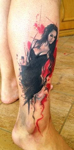 Black Dress Pin Up Tattoo - Adam Kremer love the water color effect and the hidden sillotte