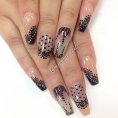 Transparent Nails with Black Overlay Patterns #nailart