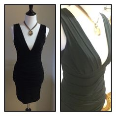 """""""Grass"""" Chic Black Ruched Cocktail Dress, sz 5 Like-new!! Sexy meets sophisticated! Super flattering and comfortable! Material is amazing. Size 5, or Small, has great stretch ability but tremendous quality too. With this plunging neckline its absolutely perfect for a night out with the girls or to a sexy cocktail reception. Please like and share! Thanks! SK Boutique Grass Collection Dresses Midi"""