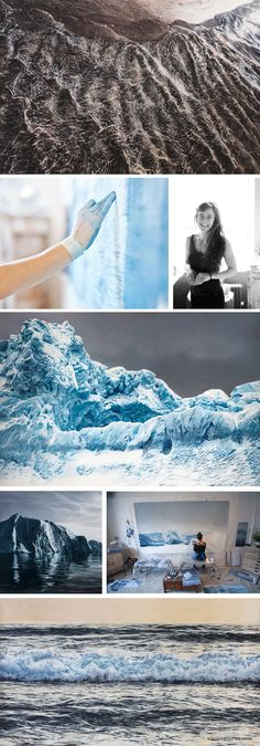 Realistic landscape paintings by Zaria Forman.