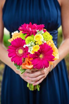 @Eastside of Eden Photography, Willoughby wedding, colorful bouquet, gerber daisies, pink, green and yellow on navy blue bridesmaid dress