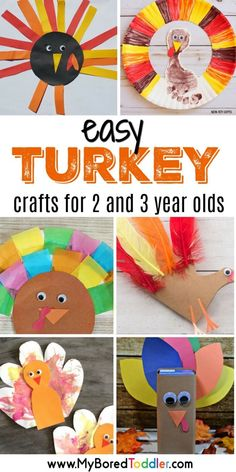 easy turkey crafts for 2 and 3 year olds turkey crafts for toddlers. A fun thanksgiving craft idea for toddlers. Turkey paper plate crafts, simple turkey crafts for toddlers and crafts 3 year old Easy Turkey Crafts for toddlers to make Crafts For 2 Year Olds, Arts And Crafts For Teens, Art And Craft Videos, Easy Arts And Crafts, Easy Toddler Crafts 2 Year Olds, Kids Diy, Thanksgiving Crafts For Toddlers, Thanksgiving Crafts For Kids, Thanksgiving Turkey