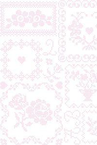 PiP Cross Stitch Pink/White wallpaper