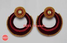 Silk Thread Bangles Design, Silk Thread Earrings, Thread Jewellery, Jewellery Making, Crochet Earrings, French Knot Embroidery, Tatting Jewelry, Earring Tutorial, Ear Rings