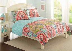 3-Pc-Aqua-Teal-Blue-Red-QUEEN-Exotic-Moroccan-Quilt-Coverlet-Boho-Damask-Maroon