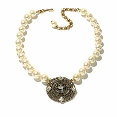 "Shop Heidi Daus ""Tastefully Yours"" Beaded Crystal Drop Necklace at HSN mobile"