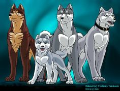 Shiro,Riki,Gin and Weed Cartoon Wolf, Fox Dog, Anime Wolf, Great Words, Dog Art, Werewolf, Cheetah, Dragons, Fanart