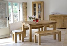 The Bevel range has an exclusive bevelled frame design, angled feet and brushed metal handles, in our stunning natural oak finish. Solid Oak Furniture, Oak Furniture Land, Dining Furniture, Dining Bench, Table And Bench Set, Oak Table, Kitchen Dining, Dining Room, Room Decor