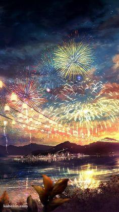 夏祭りの花火のiPhone壁紙 Paisajes Anime, Cellphone Wallpaper, 3840x2160 Wallpaper, Tumblr Wallpaper, Pretty Art, Fireworks Festival, Fireworks Background, The Artist Movie, Anime Galaxy