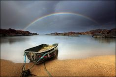 Rainbow and a wee boat - Ardtoe - Scotland by angus clyne