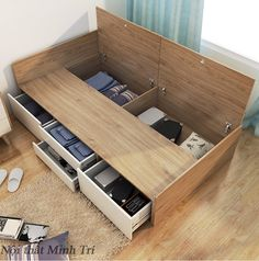 Bed Frame Design, Room Design Bedroom, Bedroom Furniture Design, Home Room Design, Home Interior Design, Best Bed Designs, Beds For Small Spaces, Wooden Sofa Designs, Small Apartment Interior