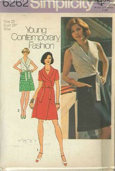 Vintage Misses' Short Front-Wrap Dress Sewing Pattern S6262 Size 12 | eBay