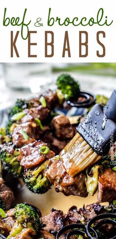 Your favorite Beef and Broccoli now on the grill! Crazy juicy Grilled Beef and Broccoli Kebabs bursting with flavor from a simple marinade/glaze in one! Steak And Broccoli, Grilled Broccoli, Grilled Beef, Grilled Chicken Recipes, Kebabs On The Grill, Beef Skewers, Pork Rib Recipes, Grill Recipes, Beef Recipes