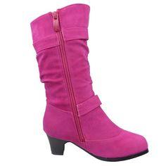 Kids Youth Girls' Knee High Low Heel Slouchy Faux Suede Boots Fuchsia , 9 Low Heel Boots, Suede Boots, Low Heels, High Boots, Heeled Boots, High Low, Youth, School, Girls