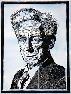 Linocut portrait of Bertrand Russell by Calum Lamb. https://plus.google.com/116852212372643290195/posts Tags: Linocut, Cut, Print, Linoleum, Lino, Carving, Block, Woodcut, Helen Elstone, Man, Face.