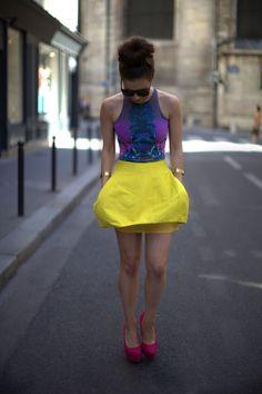 Yellow skirt & purple top