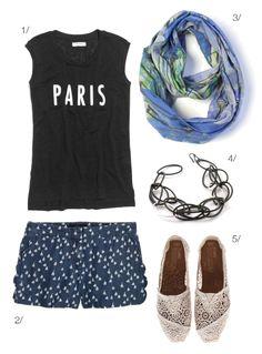 weekend summer style: printed shorts and lightweight summer scarf via megan auman