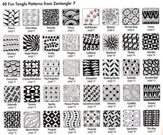 Free Zentangle How To Patterns | 40 more tangles with How-to steps for each.