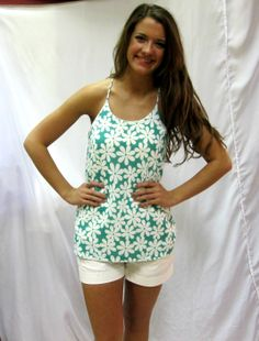 Be ready for Spring or Summer in this great Daisy tank by Karlie! Halter neckline, fully lined, with racerback detail Screams St. Paddy's Day or Summer picnic by the Bay!