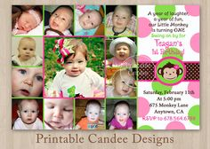 Mod Monkey Girl Photo Collage First Birthday by printablecandee, $15.00