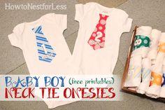 d'adorables bodies pour la première année de bébé... avec cravate pour les garçons...