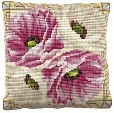 """Leighton (C1780)  Floralkit stitched in cross stitch on printed 5hpi canvas. Designed by Brigantia Needlework. Brigantia are an english company known for their high quality and accurate hand printed canvases which make them very easy to follow.  Contents: colour printed 5 count (5 holes per inch) tapestry canvas, Brigantia pure wool tapestry yarn, needle, chartand full instructions.   Size: 16"""" x 16..."""