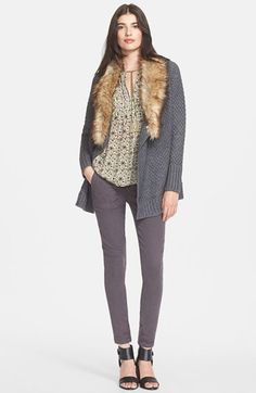 Joie Faux Fur Collar Cardigan, Silk Top & Skinny Jeans available at #Nordstrom