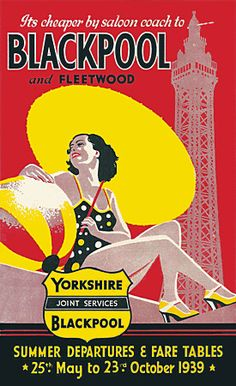 to Blackpool.. Classic 1930s Vintage British tourism poster print   http://www.vintagevenus.com.au/vintage/reprints/info/TV667.htm