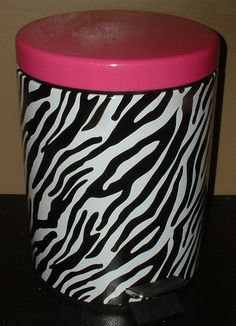 ZEBRA PRINT PINK STEP TRASH CAN