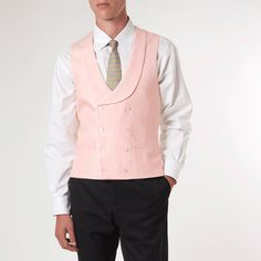Pale Pink Double Breasted Waistcoat - Linen With Piping Navy Wool Coat, Double Breasted Waistcoat, Nehru Jackets, Pastel Pink, Formal Wear, The Help, Menswear, Mens Fashion, Shirt Dress