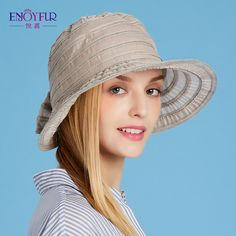 b0a7a5ac855 Women Summer Sun hat with large brim linen adjustable female hats casual  and elegant good breathability Vacation Foldable caps