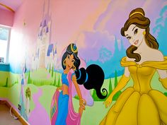 disney mural princesses at an angle Princess Mural, Disney Princess, Disney Mural, Little Girl Bedrooms, Girl Bedroom Walls, Colour Pallete, Disney Style, Rapunzel, Beauty And The Beast